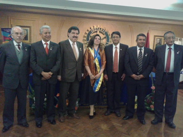 Presidentes de los Clubes Rotarios de La Paz: AG G.Morrison, RC La Paz M.Salinas, RC Sopocachi E.MontesdeOca, RC Chuquiago M.Yaffar, RC San Jorge F.Mejia, RC Miraflores H.Montano
